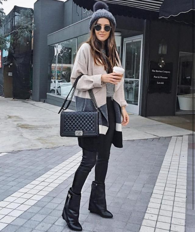 Cardigan And Pants  Black Beautiful cardigan with black pants and striped T-shirt