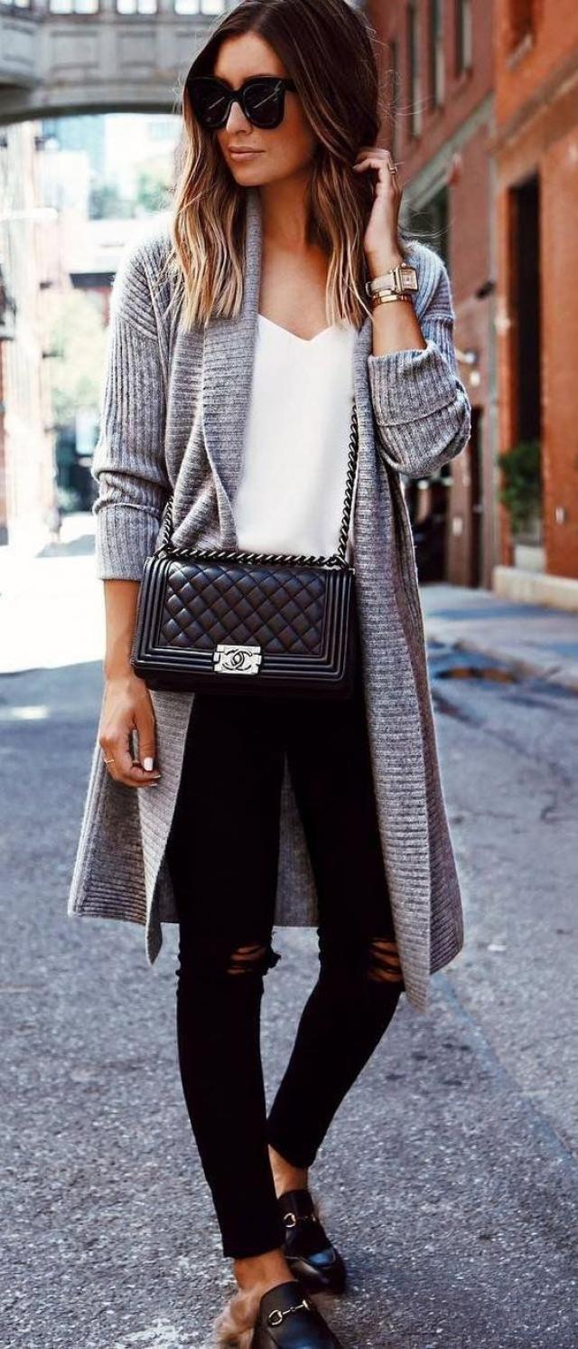 Pockets Longline Cardigan Gray And Jeans Black Perfect autumn look with cardigan gray and jeans black