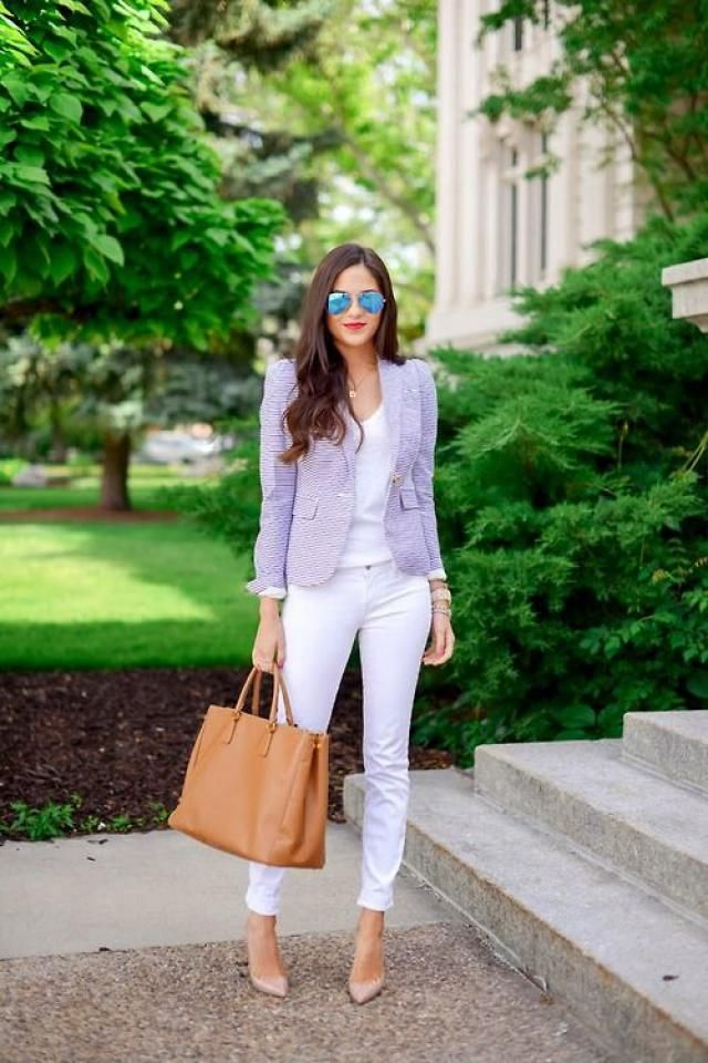 Striped One Button Pocket Blazer And Ripped Ankle Skinny Jeans White So pretty look with white jeans and one button po…