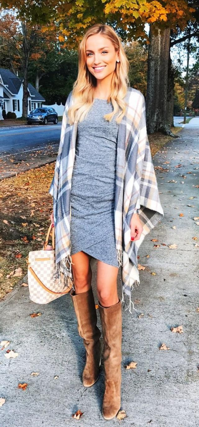 T-Shirt Dress Gray And Striped Fringe Hem Cardigan