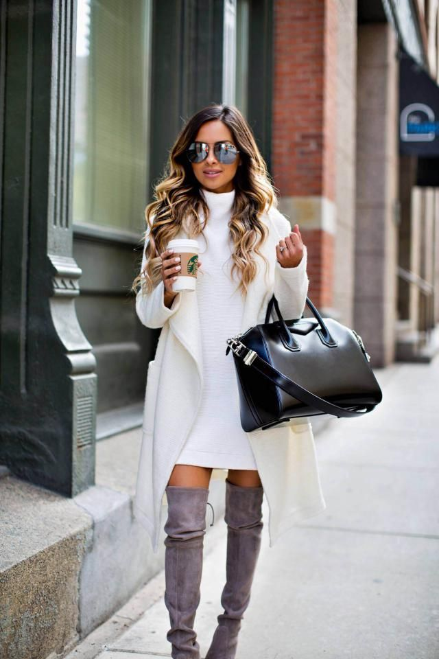 Turtleneck Fitted Knit Dress White And Cardigan White Let autumn not be gray and boring, but light and full color!   …