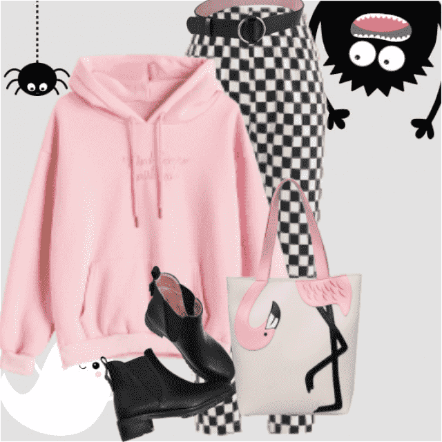 Fresh and beautiful look here - with a pink cozy hoodie and a black and white pants