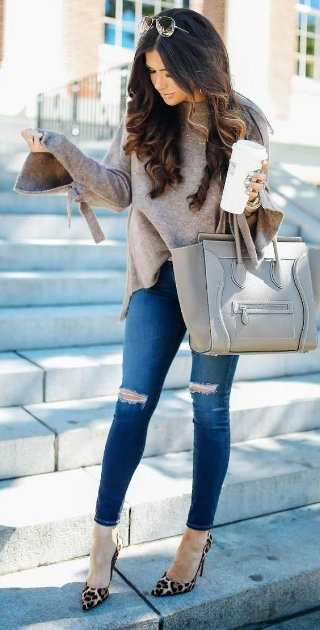 Coat And Jeans Denim Blue
