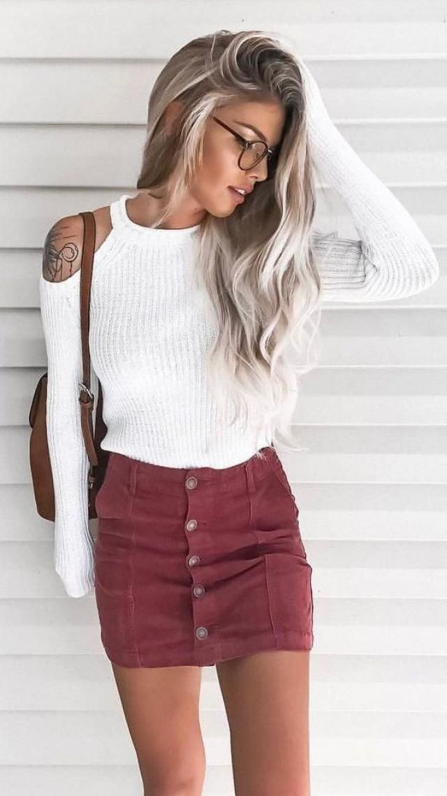 Pullover Open Shoulder Sweater White And Button Mini Skirt