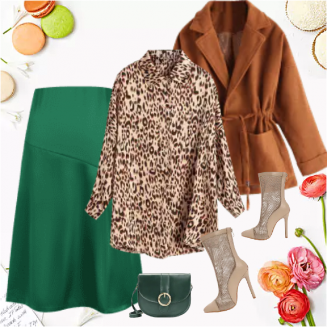 Chic and trendy look pointed by animal print blouse and green skirt. It's a perfect combination as y…