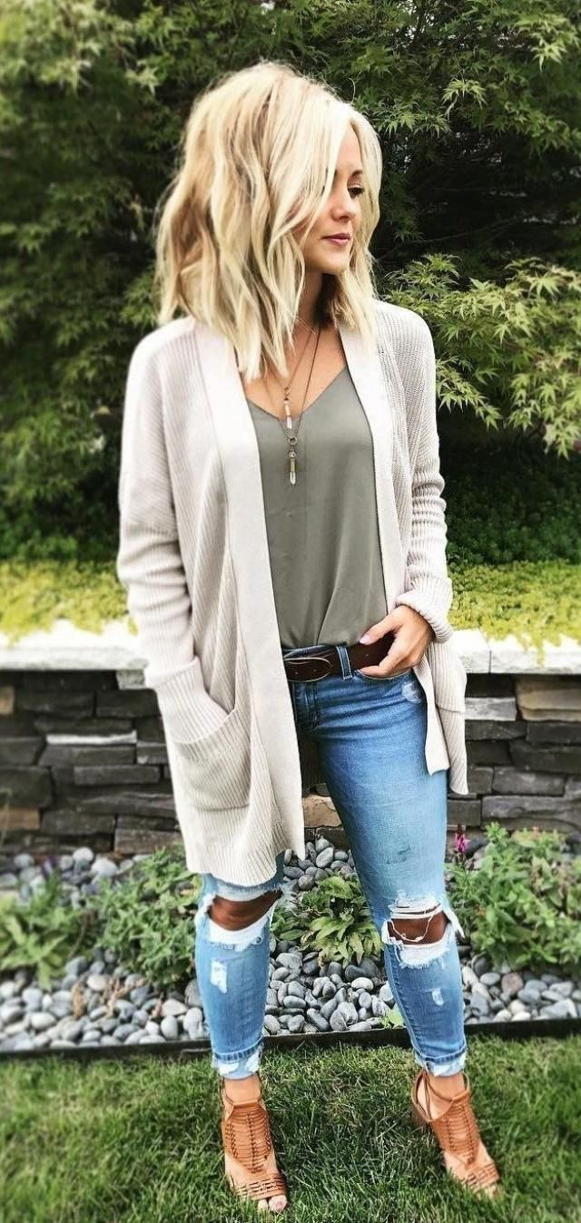 Cardigan White And Jeans My favorite sreet look