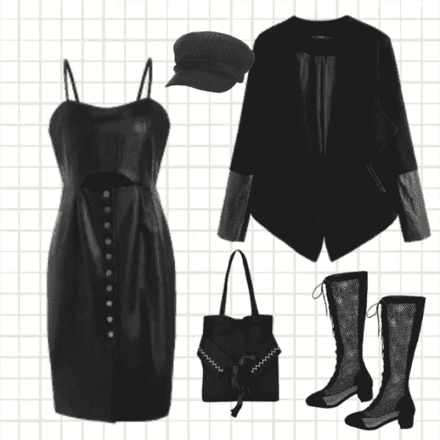 This all-black-look is the best choice as an evening combination. You can go to the club, to the concert…