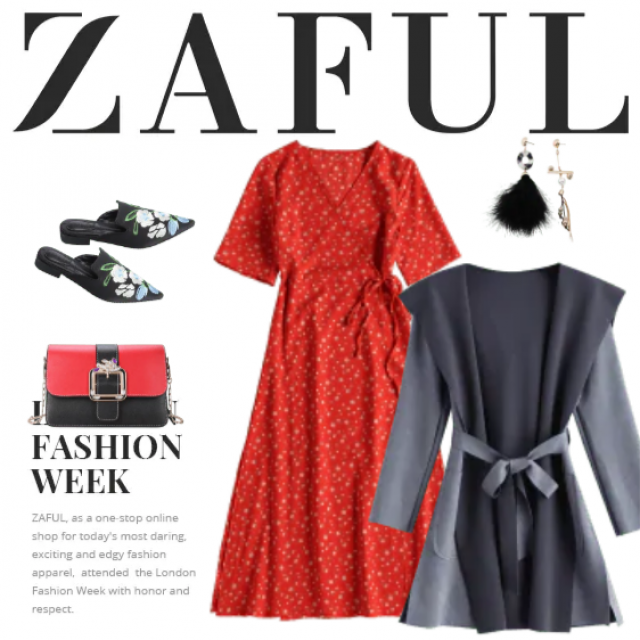 Lovely and trendy outfit ideal for fashion week - street style! The bright red dress is calmed with the t…