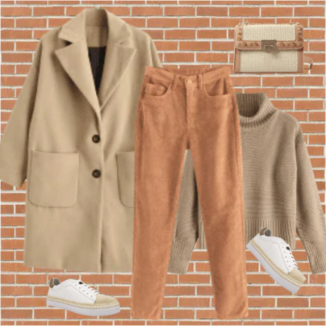 Everyday look in warm, Fall colors, khaki and light brown. Every piece of this clothes is comfortable …