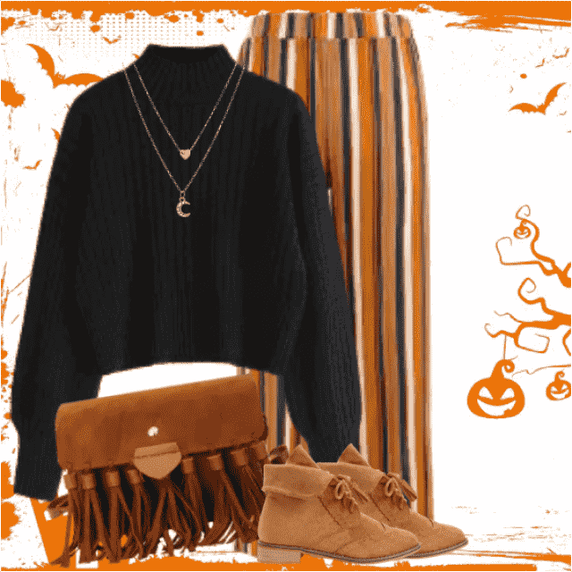 Fabulous autumn style with the striped pants and the black knitted sweater