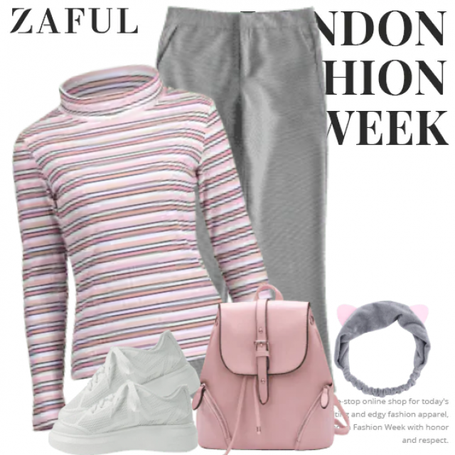 Beautiful and stylish outfit in grey and soft pink