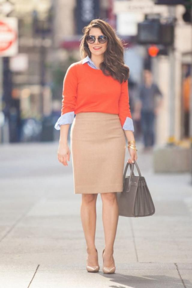 Sweater Orange And Stripes Shirt  Blue