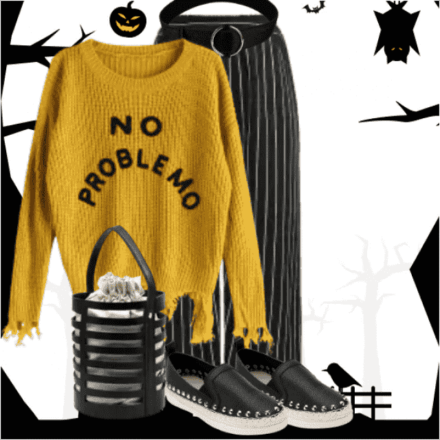 Cool look with this sweater - in match with the striped pants. So trendy!