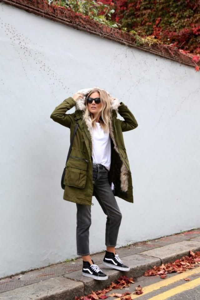 Coat  Fern Green And Jeans  Black