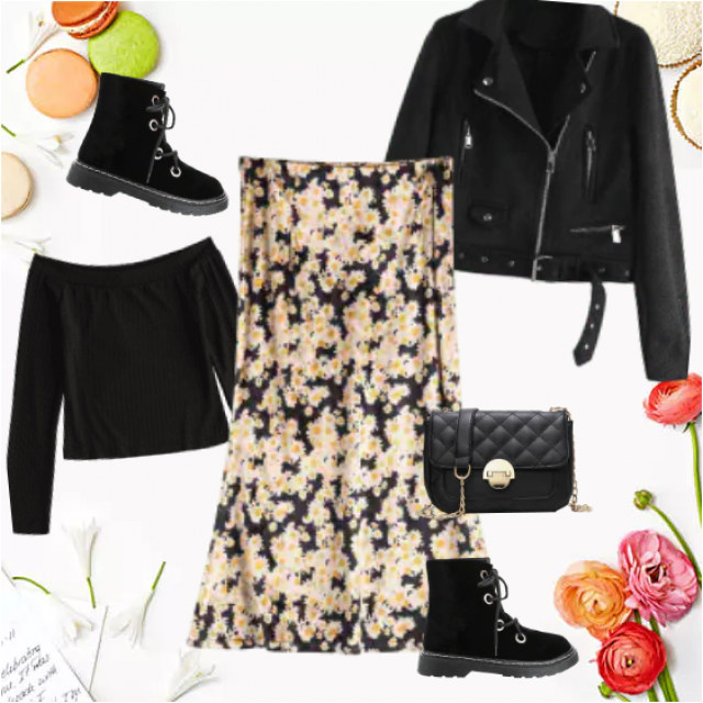 A lovely velvet skirt in floral skirt is a wonderful opposite with moto-jacket, off-the-shoulder top an…