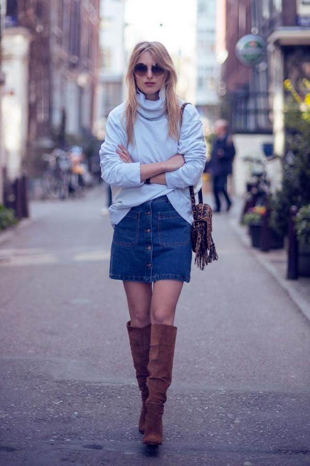 Button Up Denim Skirt  Jeans Blue And  Turtleneck Sweater  White Perfect casual style