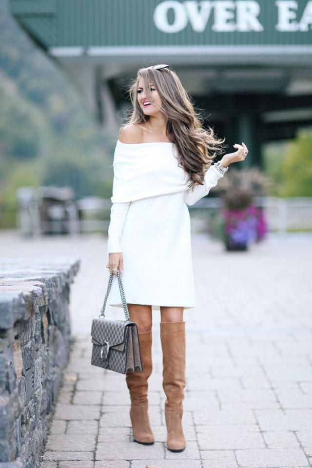 Off The Shoulder Overlay Sweater Dress  White