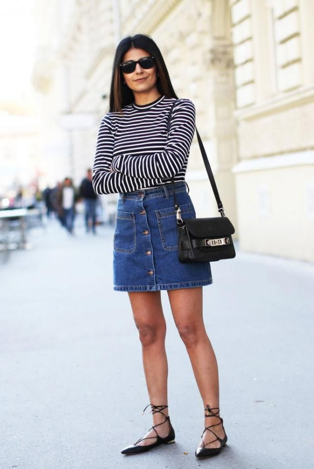 Button Up Denim Skirt Jeans Blue And Striped Long Sleeve Tee