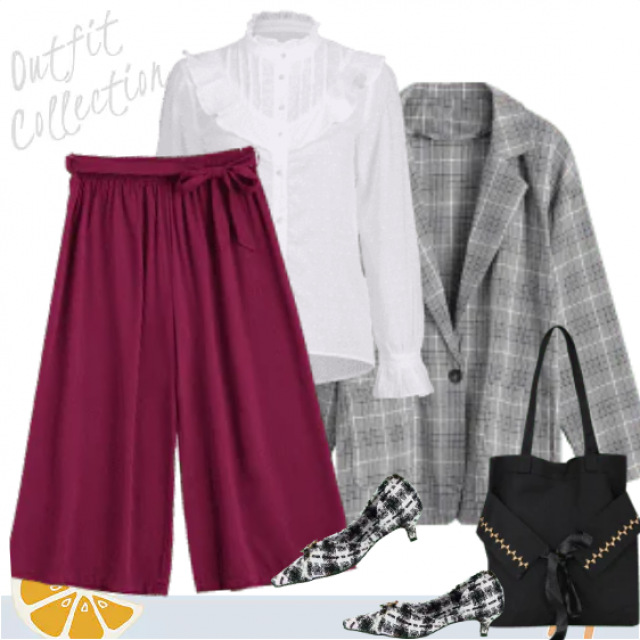 Elegant workwear style combined of a lovely white blouse, purple wide-leg pants and a plaid blazer. Besi…