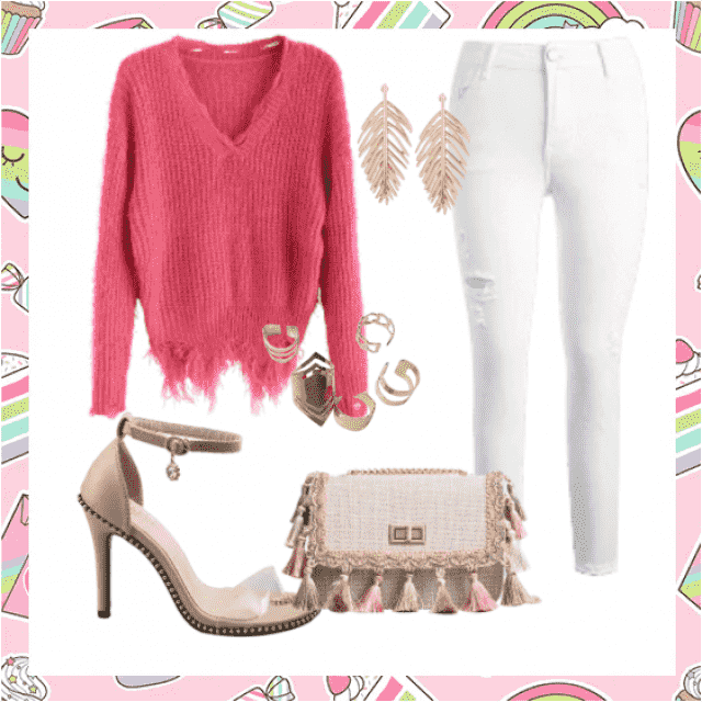 Perfect jeans white with sweater pink and sandals