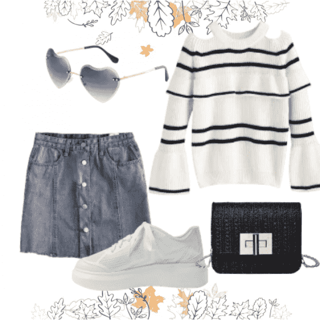 Perfect casual style with denim skirt and sweater striped