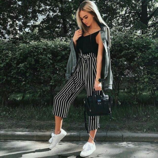 Ninth Striped Paper Bag Pants