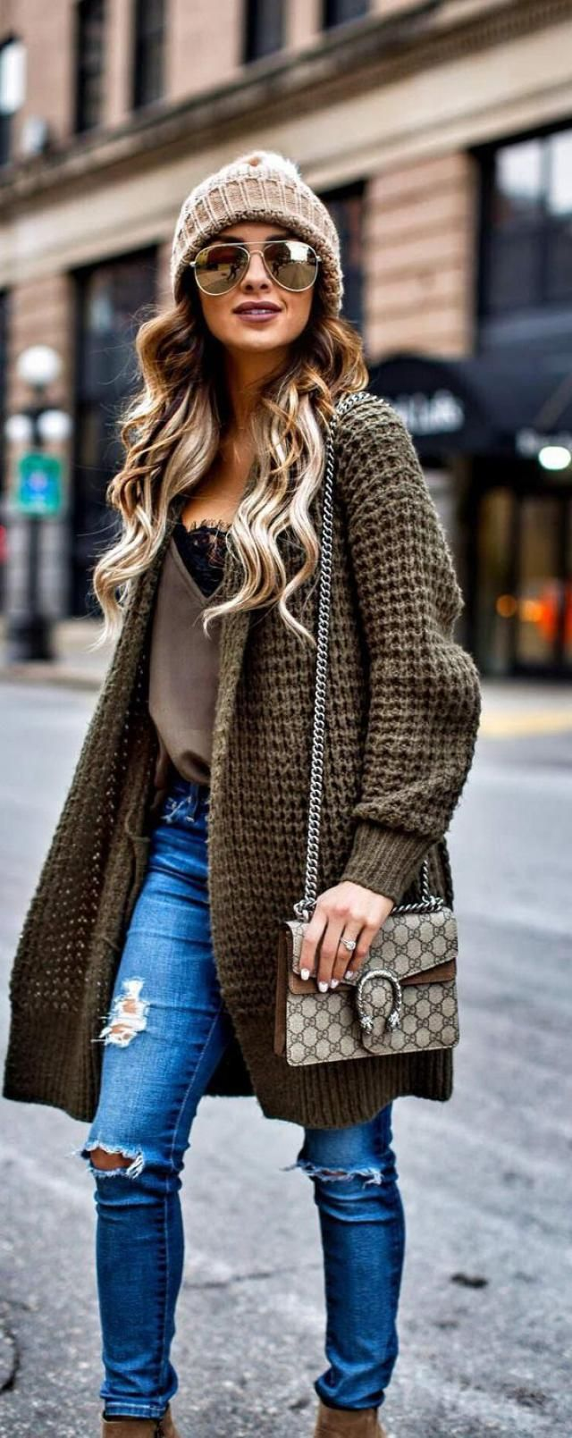 Long Cardigan  Army Green And Jeans Denim Blue