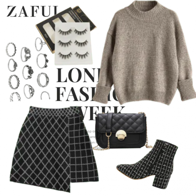 Mini skirt and grey knitwear