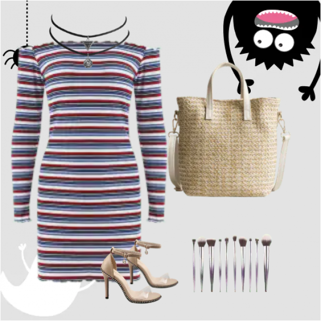 Perfect striped dress with high heels look perfect