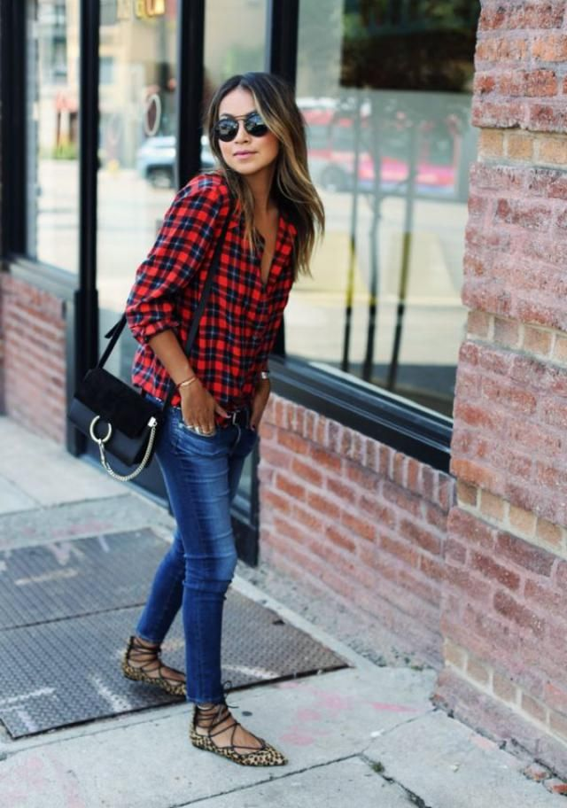 Plaid Drop Shoulder Shirt And Jeans So beautiful combination with jeans and plaid shirt