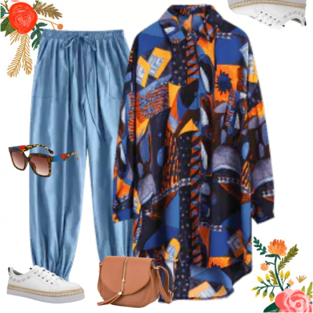 Totally casual look in jeans and a geometric print shirt-dress. Eye-catching and practical also. You …
