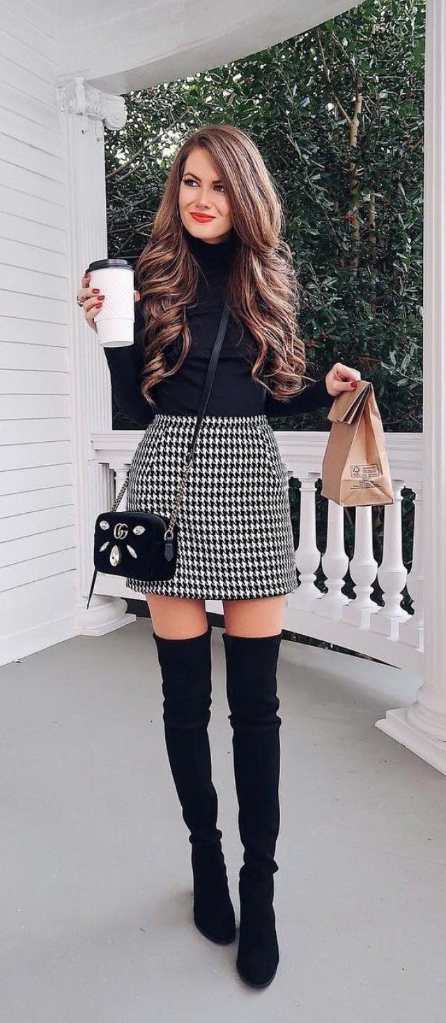 Tweed Mini Plaid Skirt  Black And Long Sleeve Turtleneck Snap Crotch Bodysuit Black
