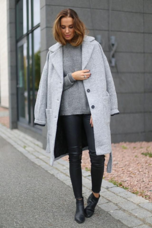 Coat  Gray And Turtleneck Sweater  Gray