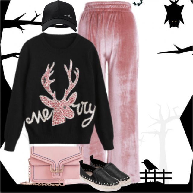 Great and sportive casual style with the beautiful pink pants and the black sweater