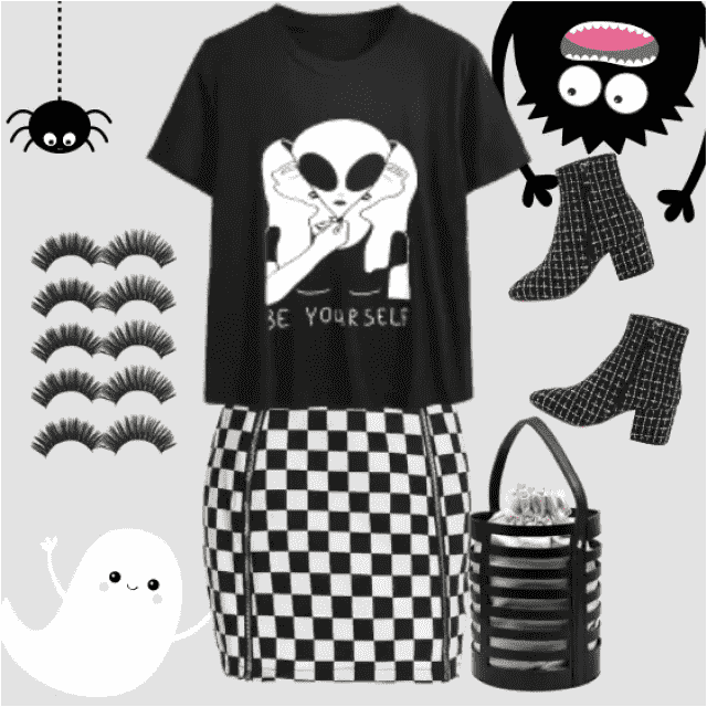Very Appropriate outfit for Halloween! Black and white, print, squares, false eyelashes - almost all tha…