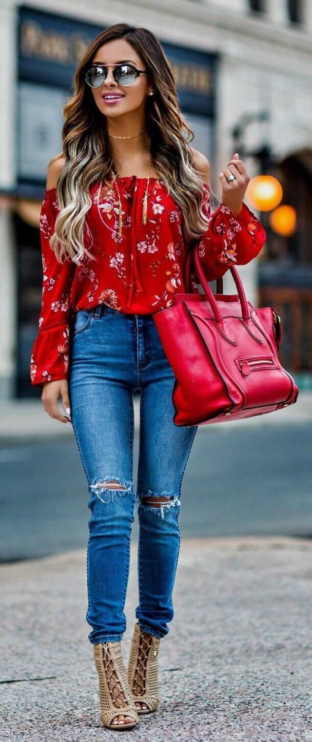 Jeans Denim Blue And Floral Flare Sleeve Off Shoulder Blouse  Red Perfect autumn women outfit
