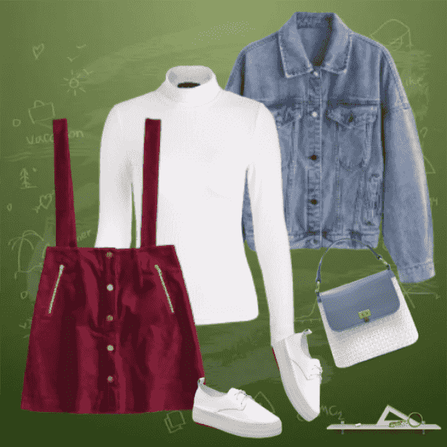 On this photo, you can see a lovely outfit which looks like it's made for the school days. Simple but …