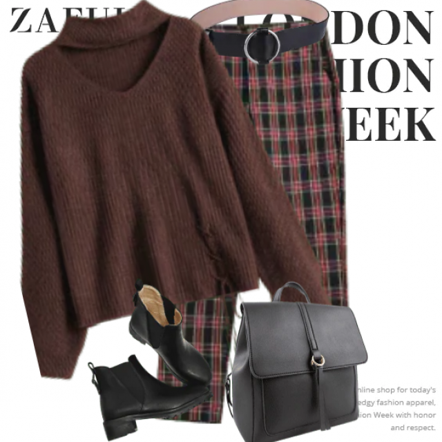 So trendy casual style with the knitted sweater and this pants. Take a look!