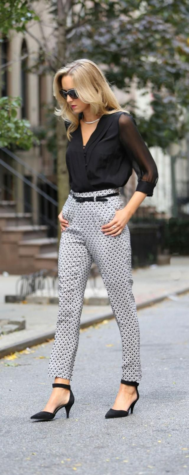 Belted  Pants And Shirt  Black