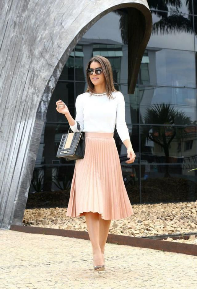 Pleated Skirt And White Sweater