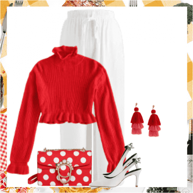 Gorgeous red sweater - so beautiful with this white pants. And take a look on the wonderful bag!