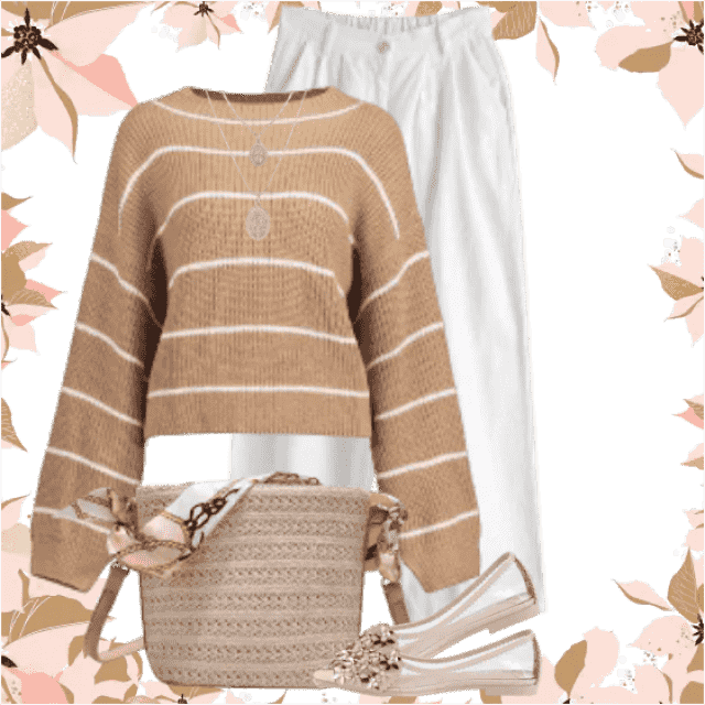 Gorgeous fresh combo with a striped sweater and white pants. This looks so fresh and trendy