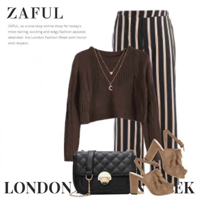 Feminine style here with a knitted sweater, golden necklace and the striped pants