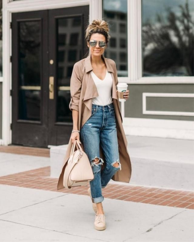 Faux Suede Trench Coat And Jeans Blue