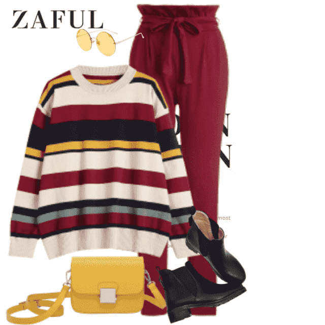 Cool casual style with a striped sweater and great accessoires