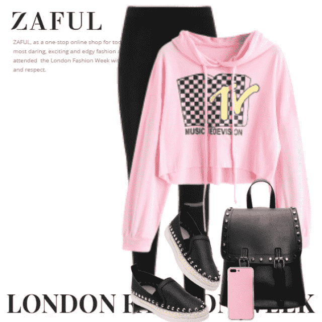 Cool and trendy look here with a pink hoodie and black stylish pants