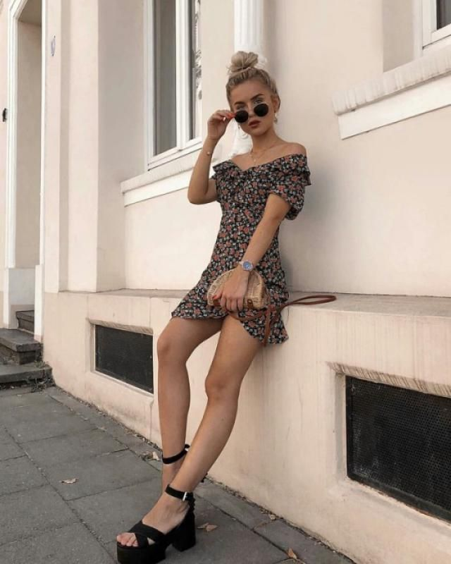 Belted Floral Print V Neck Dress