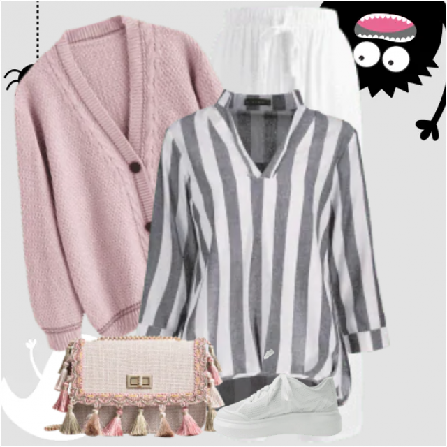 Fabulous casual look here with the pink cardigan and the striped blouse