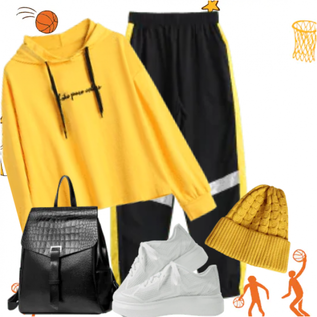 Gorgeous sport look here - perfect with a yellow comfortable hoodie
