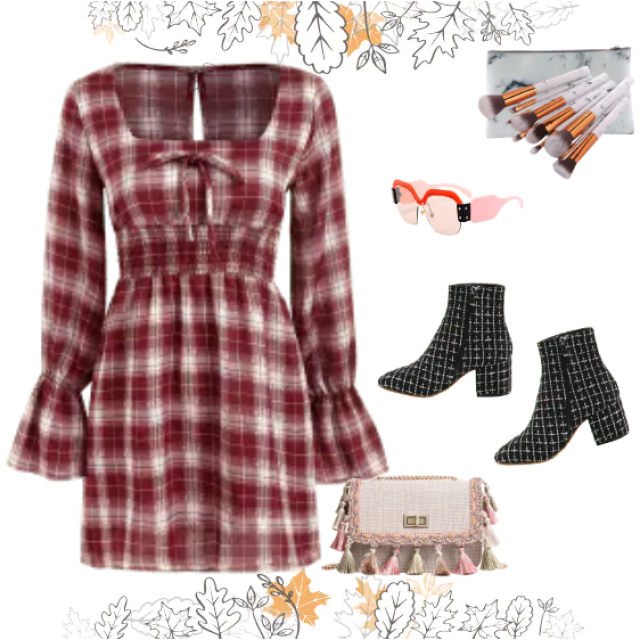 On this photo is presented red-pink look with the checked dress and ankle boots. Lovely tassel bag…
